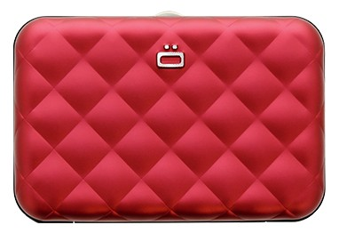 Ögon Quilted Button Red creditcardhouder