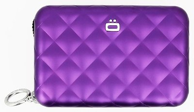 Ögon Quilted Zipper Purple creditcardhouder